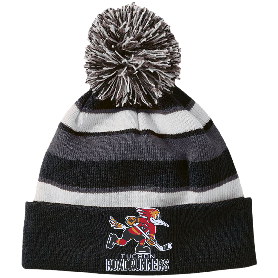 8d128030 Tucson Roadrunners Striped Beanie with Pom – ahlstore.com