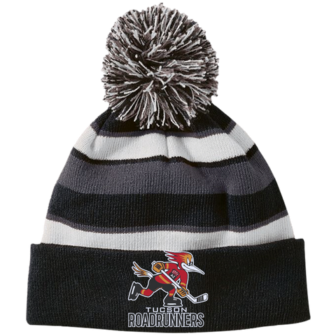 Tucson Roadrunners Striped Beanie with Pom