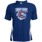 Bridgeport Sound Tigers Primary Logo Adult Colorblock Dry Zone Crew