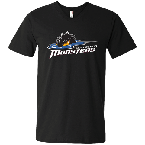 Cleveland Monsters Primary Logo Men's Printed V-Neck T-Shirt