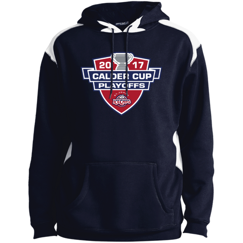 St. John's IceCaps Adult 2017 Calder Cup Playoffs Shoulder Colorblock Pullover Hoodie