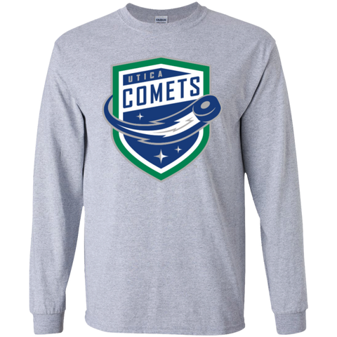 Utica Comets Primary Logo Youth LS T-Shirt