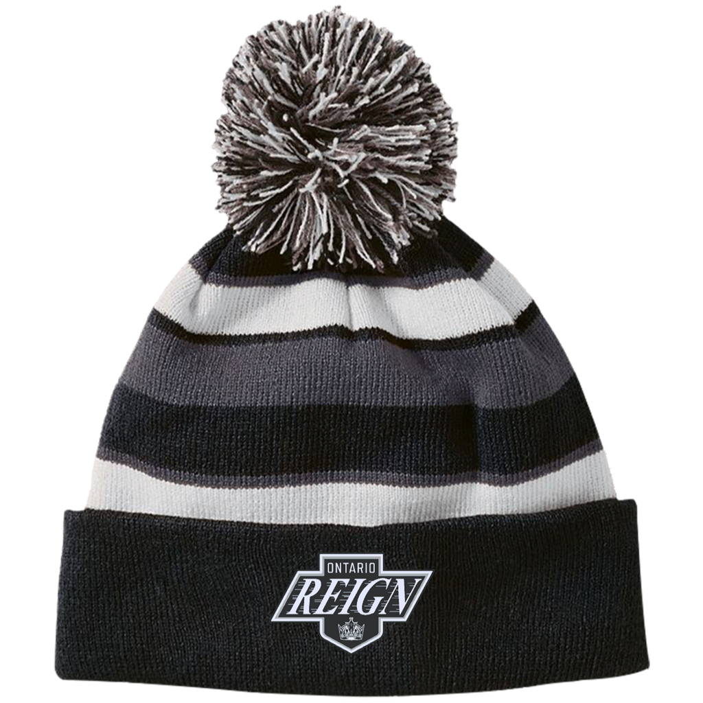 Ontario Reign Striped Beanie with Pom