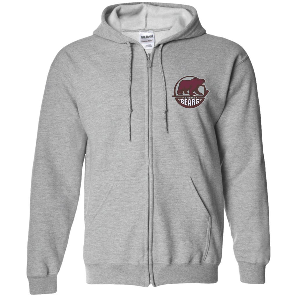 Hershey Bears Primary Logo Adult Embroidered Zip Up Hooded Sweatshirt