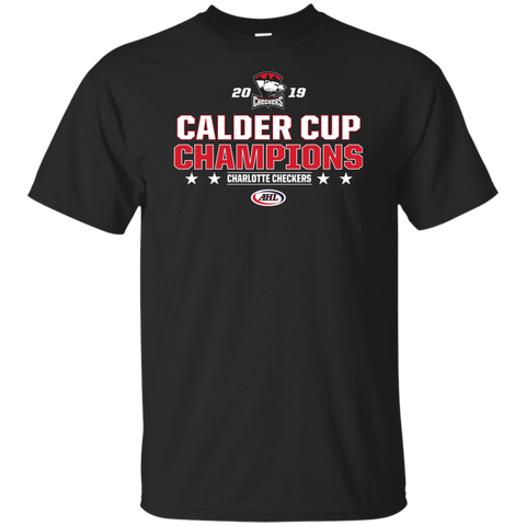 Charlotte Checkers 2019 Calder Cup Champions Adult Stacked Short Sleeve Cotton T-Shirt
