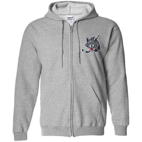 Chicago Wolves Adult Embroidered Zip Up Hooded Sweatshirt