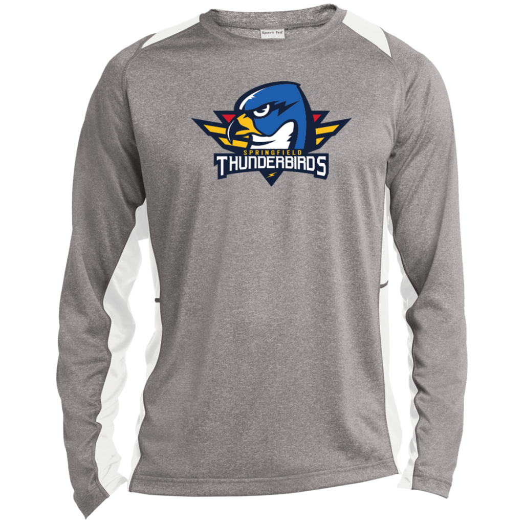 Springfield Thunderbirds Primary Logo Long Sleeve Heather Colorblock Poly T-Shirt