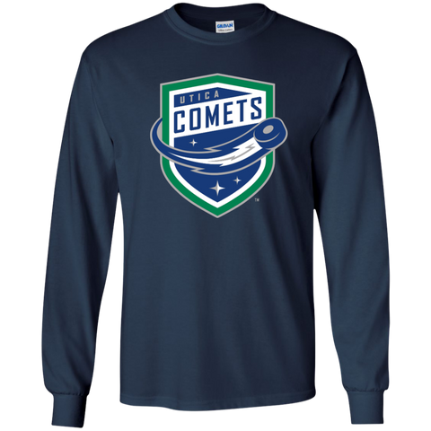 Utica Comets Primary Logo Youth Long Sleeve T-Shirt