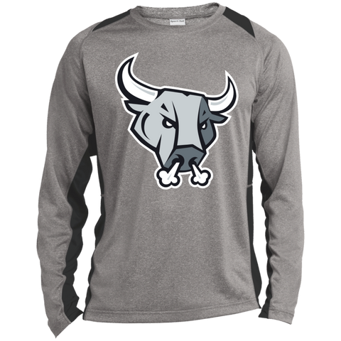 San Antonio Rampage Primary Logo Adult Long Sleeve Heather Colorblock Poly T-Shirt