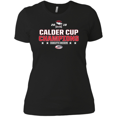 Charlotte Checkers 2019 Calder Cup Champions Next Level Ladies' Stacked T-Shirt