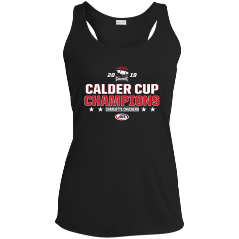 Charlotte Checkers 2019 Calder Cup Champions Ladies' Stacked Racerback Moisture Wicking Tank