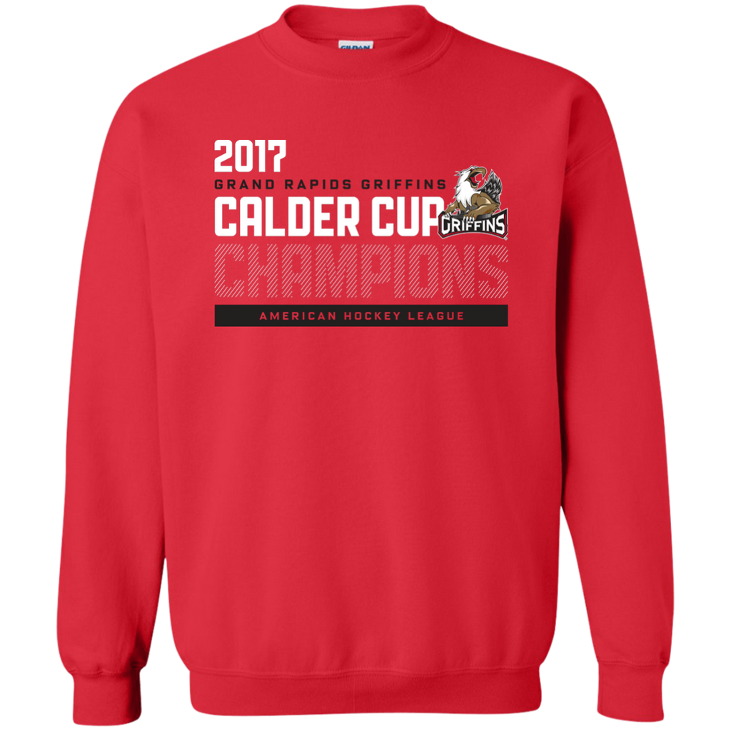 Grand Rapids Griffins 2017 Calder Cup Champions Adult Athletic Crewneck Pullover Sweatshirt (red)
