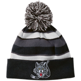 Chicago Wolves Striped Beanie with Pom