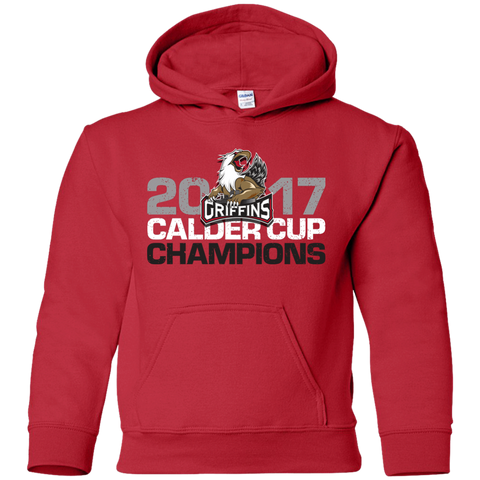 Grand Rapids Griffins 2017 Calder Cup Champions Distressed Youth Pullover Hoodie