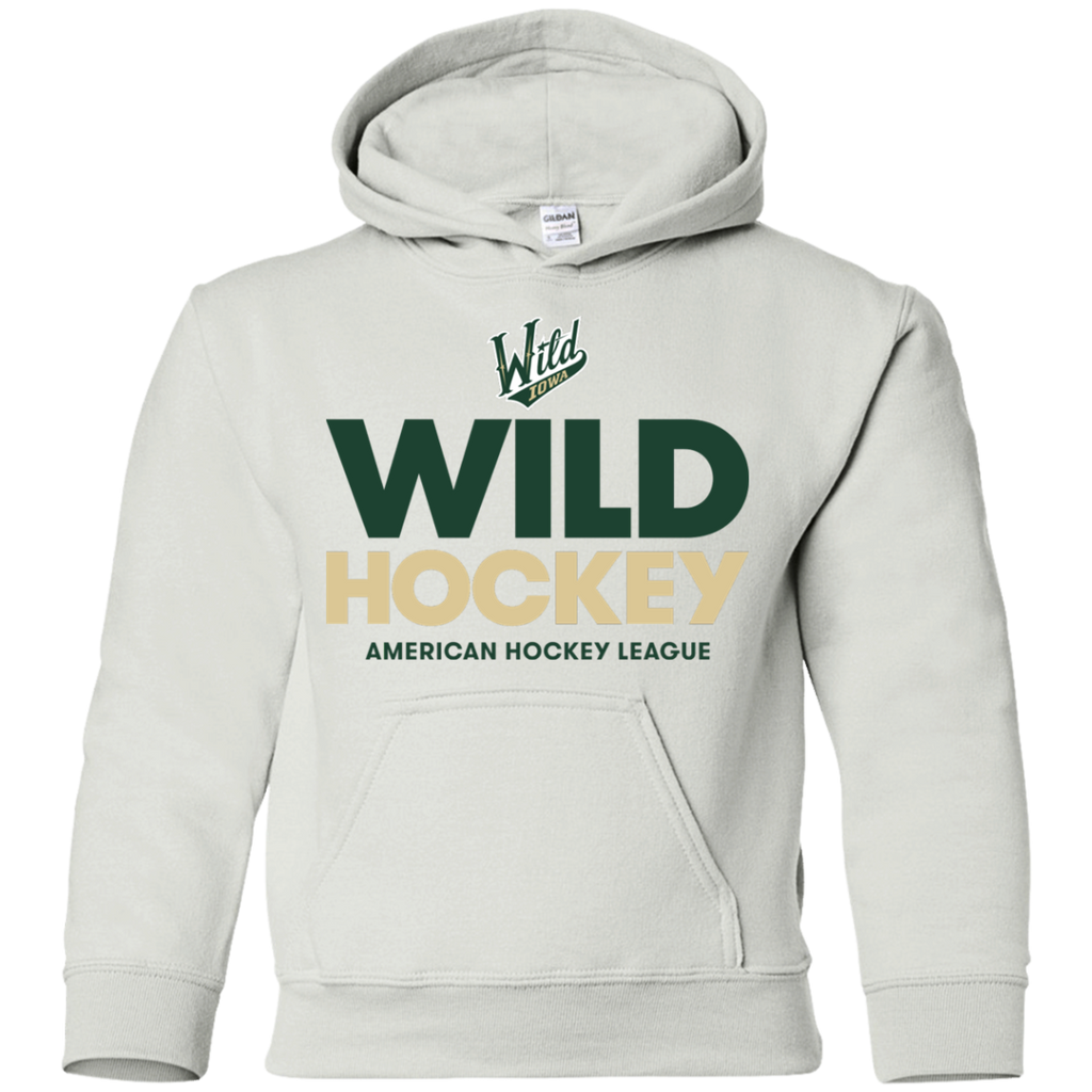 Iowa Wild Hockey Logo Youth Pullover Hoodie