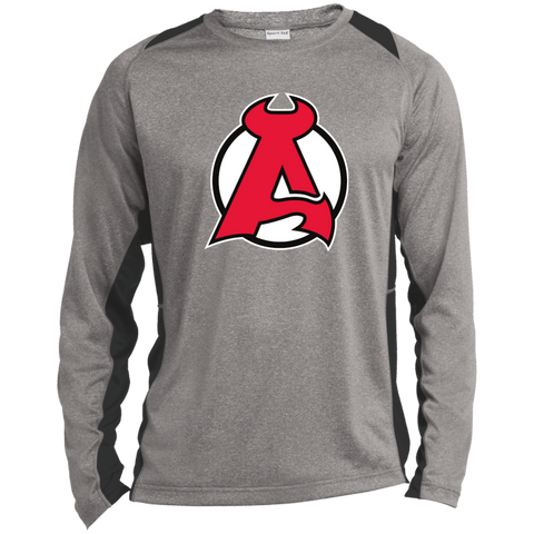 Albany Devils Adult Long Sleeve Heather Colorblock Poly T-Shirt