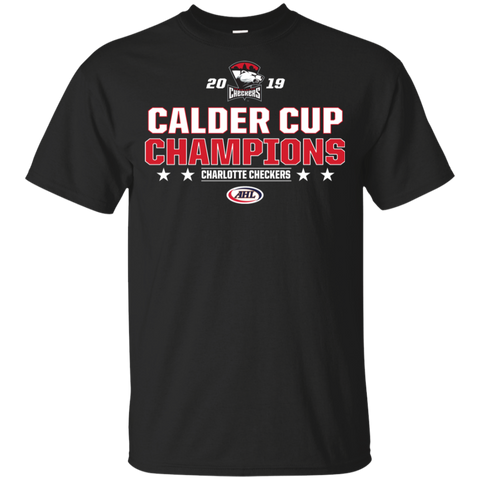 Charlotte Checkers 2019 Calder Cup Champions Youth Stacked T-Shirt