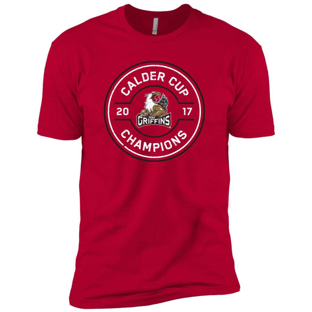 Grand Rapids Griffins 2017 Calder Cup Champions Adult Faceoff Next Level Premium Short Sleeve T-Shirt (red)