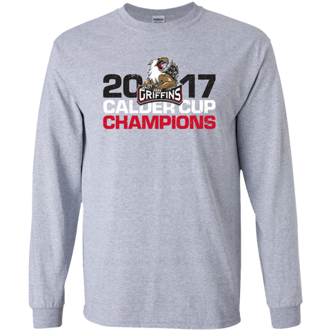 Grand Rapids Griffins 2017 Calder Cup Champions Distressed Adult Long Sleeve T-Shirt