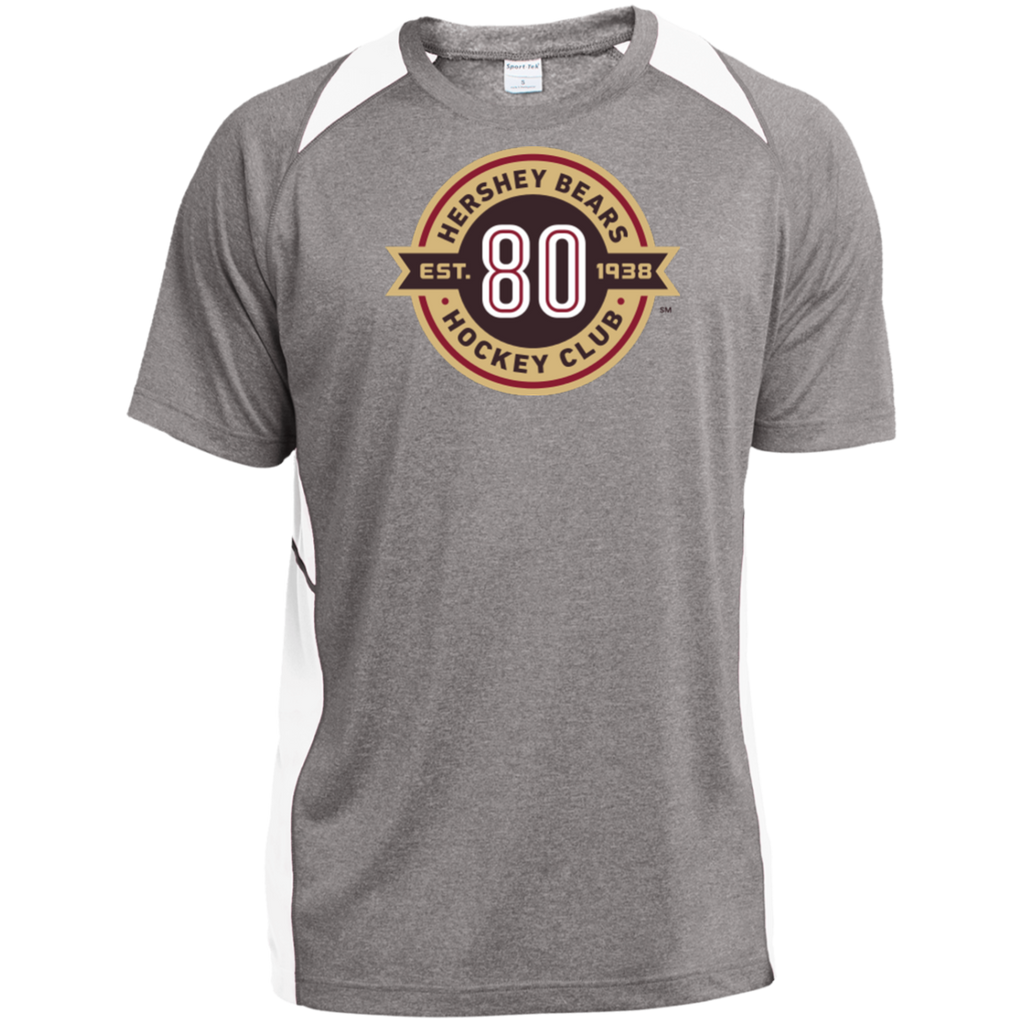 Hershey Bears 80th Anniversary Heather Colorblock Poly T-Shirt
