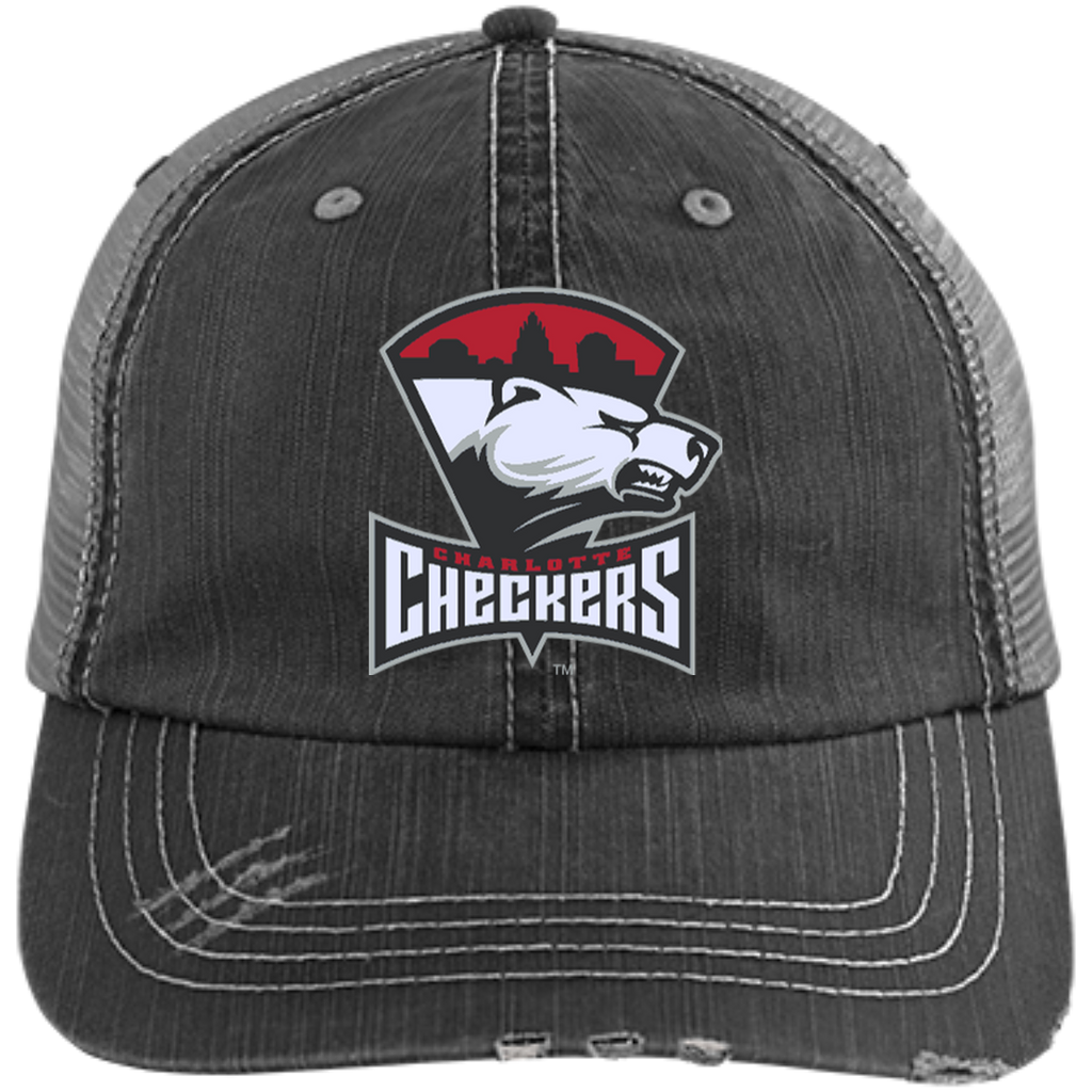Charlotte Checkers Distressed Unstructured Trucker Cap