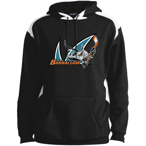 San Jose Barracuda Primary Logo Adult Shoulder Colorblock Pullovern Hoodie