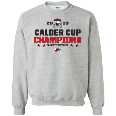 Charlotte Checkers 2019 Calder Cup Champions Adult Stacked Crewneck Pullover Sweatshirt