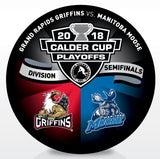 Grand Rapids Griffins vs Manitoba Moose 2018 Calder Cup Playoffs Dueling Souvenir Puck