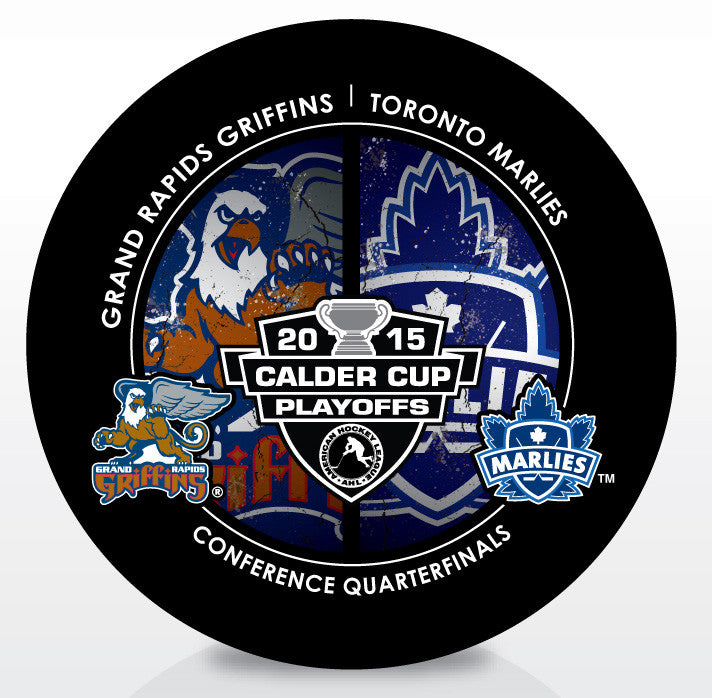 Grand Rapids Griffins vs Toronto Marlies 2015 Calder Cup Playoffs Dueling Souvenir Puck