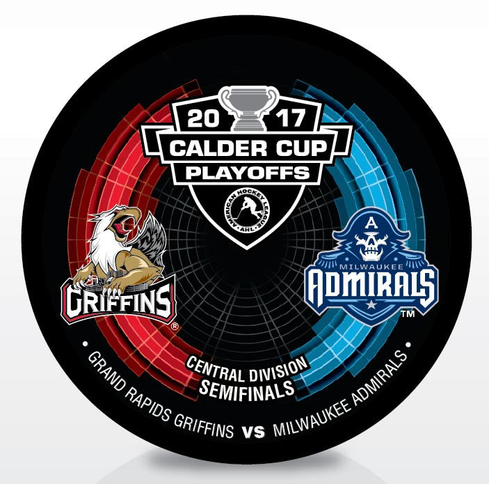 Grand Rapids Griffins vs. Milwaukee Admirals 2017 Calder Cup Playoffs Dueling Souvenir Puck