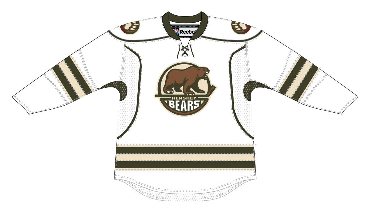 in stock dd9cd 8ceec CCM Edge Hershey Bears Customized Adult White Jersey