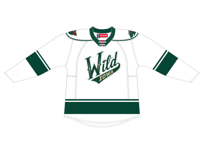 CCM Quicklite Iowa Wild Customized Premier White Jersey