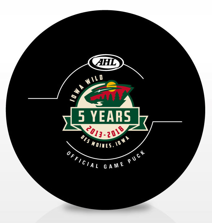 Iowa Wild 5th Anniversary Official Game Puck