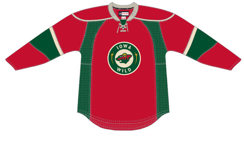 CCM Edge Iowa Wild Customized Premier Red Third Jersey