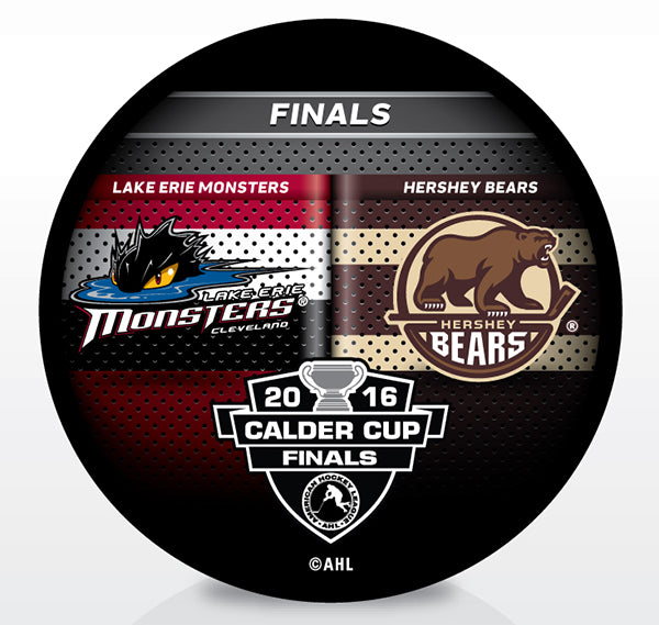 Lake Erie Monsters vs. Hershey Bears 2016 Calder Cup Playoffs Dueling Souvenir Puck