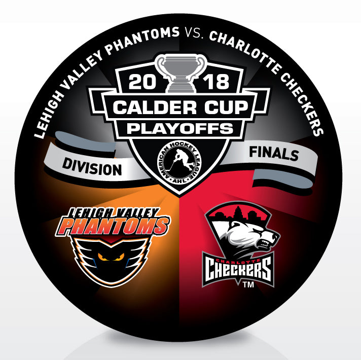 Lehigh Valley Phantoms vs Charlotte Checkers 2018 Calder Cup Playoffs Dueling Souvenir Puck