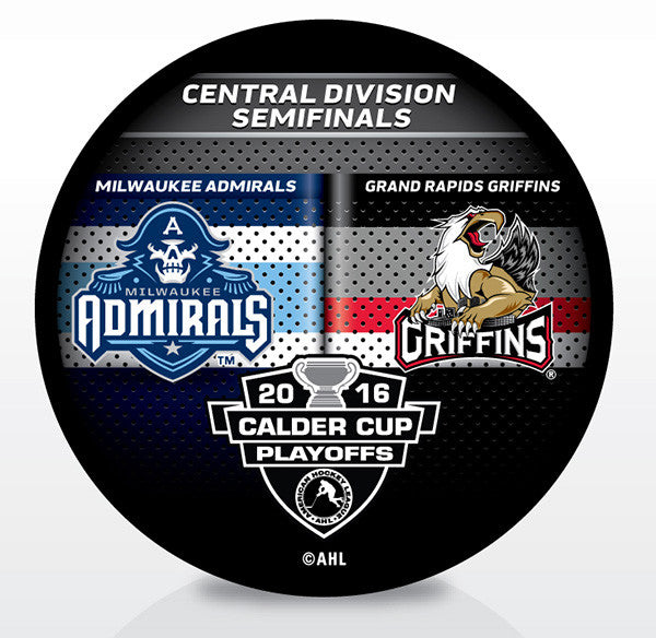 Grand Rapids Griffins vs. Milwaukee Admirals 2016 Calder Cup Playoffs Dueling Souvenir Puck