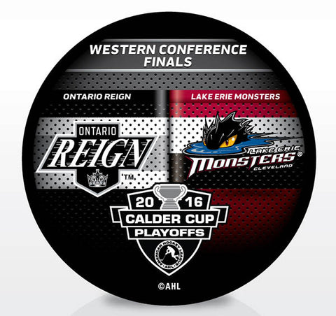 Lake Erie Monsters vs. Ontario Reign 2016 Calder Cup Playoffs Dueling Souvenir Puck