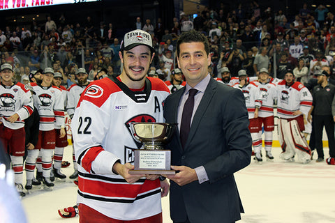Charlotte Checkers 2019 Calder Cup Champions- 8 x 10 Photo of Andrew Poturalski Accepting the MVP Award