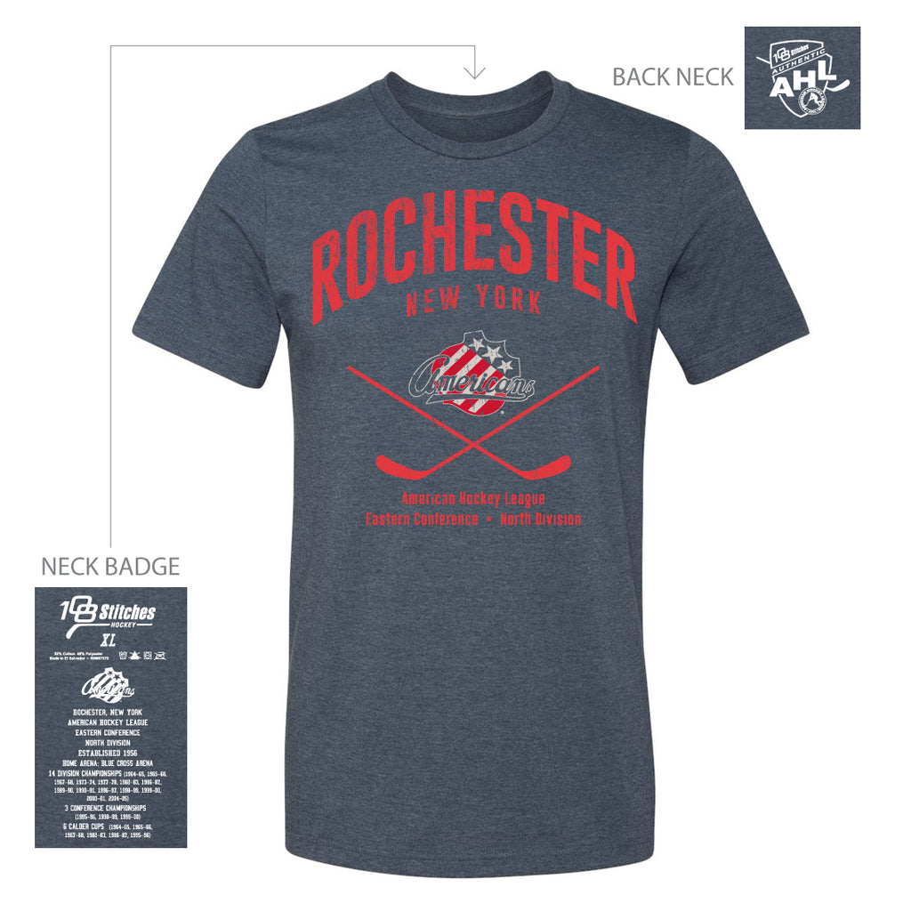 108 Stitches Rochester Americans Adult Classic Cross Sticks T-Shirt