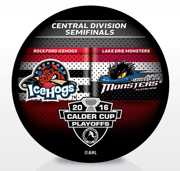 Rockford IceHogs vs. Lake Erie Monsters 2016 Calder Cup Playoffs Dueling Souvenir Puck
