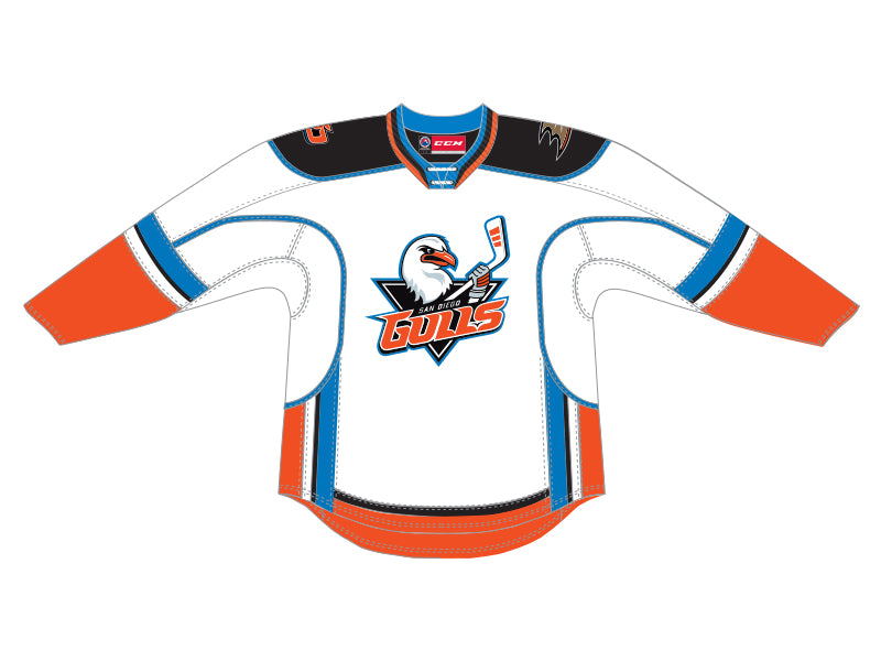CCM Quicklite San Diego Gulls Customized Premier White Jersey