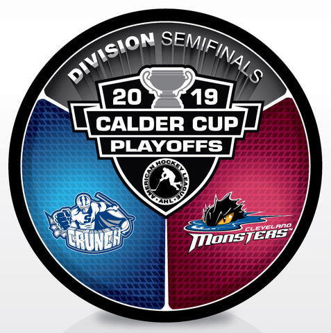 Syracuse Crunch vs Cleveland Monsters 2019 Calder Cup Playoffs Dueling Souvenir Puck