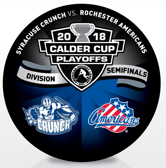 Syracuse Crunch vs Rochester Americans 2018 Calder Cup Playoffs Dueling Souvenir Puck