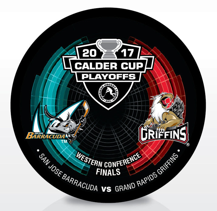 San Jose Barracuda vs. Grand Rapids Griffins 2017 Calder Cup Playoffs Dueling Souvenir Puck