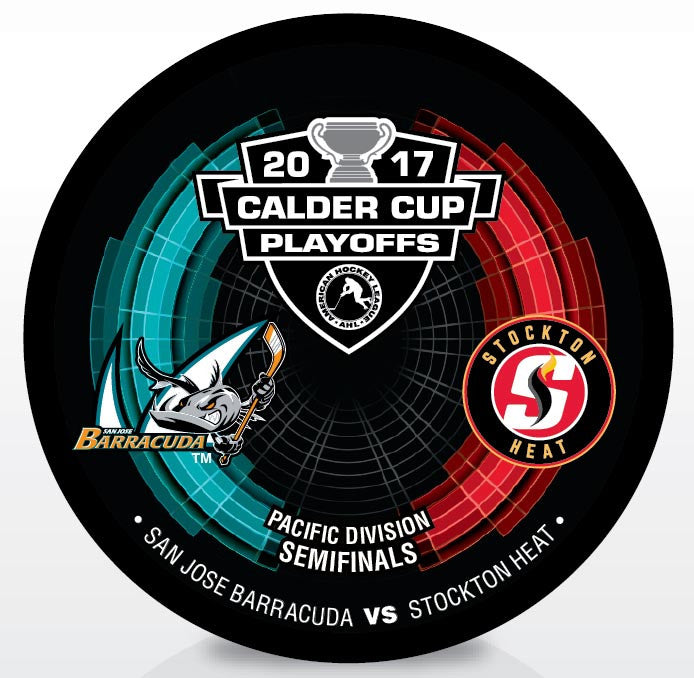 San Jose Barracuda vs. Stockton Heat 2017 Calder Cup Playoffs Dueling Souvenir Puck