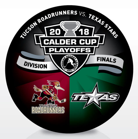 Tucson Roadrunners vs Texas Stars 2018 Calder Cup Playoffs Dueling Souvenir Puck