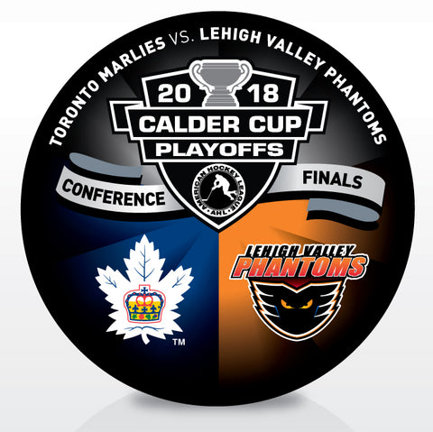 Toronto Marlies vs. Lehigh Valley Phantoms 2018 Calder Cup Playoffs Dueling Souvenir Puck