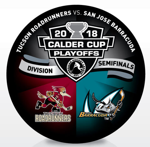 Tucson Roadrunners vs San Jose Barracuda 2018 Calder Cup Playoffs Dueling Souvenir Puck