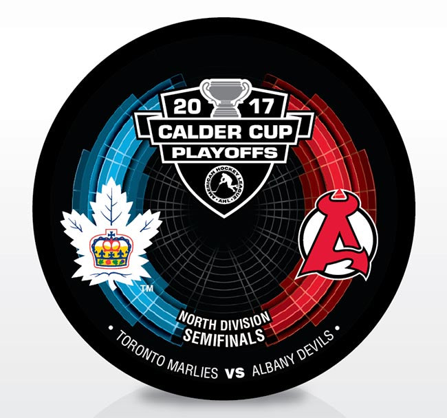 Toronto Marlies vs. Albany Devils 2017 Calder Cup Playoffs Dueling Souvenir Puck
